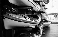 Kayaks. Film Leica M4 (Janey Song) Tags: street leica stilllife white canada black vancouver 35mm blackwhite year 1958 100 pan ilford f28 m4 kayaks wetzlar summaron leitz