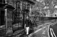 The Chapel Walk (nigelhunter) Tags: road street old urban man stone fence iron track candid north pillar chapel suit bottoms lancaster railing wrought