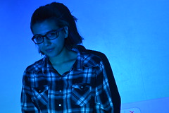 everything is blue (laurenashphotos) Tags: blue cute art girl glasses cool model projector artsy aesthetic bluetones cooltones tumblr projectorphotography