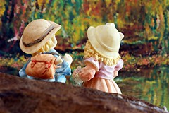 The annual, 1st day of summer, skinny dipping debate (Allan Saw) Tags: flowers trees boy girl forest swimming river hole hats figurine