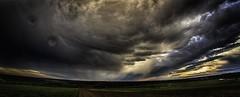 dramatic sky - hdr (Florian Grundstein) Tags: sky rain clouds skyscape landscape wide dramatic himmel wolken fisheye thunderstorm gewitter hdr wetter