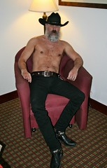 Being Devious (Cowboy Tommy) Tags: shirtless portrait hairy black sexy muscles hat sex fur beard belt furry cowboy legs boots muscle blueeyes crotch western stache mustache tight levis rugged barechest scruffy lanky skinnyjeans hotelaction