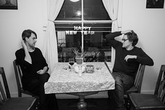 Kentish Town NYE (Gary Kinsman) Tags: party bw london houseparty blackwhite candid flash newyearseve unposed kentishtown 2015 nw5 fujix100 fujifilmfinepixx100 newyearseve2015