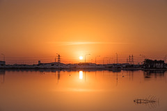 Reflections (aliffc3) Tags: morning sunshine sunrise reflections goldenhour qatar mesaieed