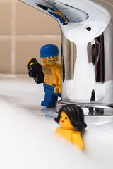 Creep (grzegorz.s) Tags: woman bathroom bath lego bubblebath voyeur minifig creep
