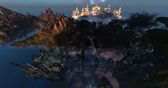 Fantasy Faire (scarlettelizabet) Tags: sunset sky reflection building water landscape cancer sl fantasy secondlife magical rfl builds cerridwen fantasyfaire