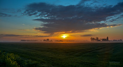Early morning on a working day (Inky-NL) Tags: sun netherlands rain fog clouds sunrise landscape countryside nikon colorful flat horizon nederland hank landschap kleurrijk platteland onmyway zonsopkomst workingday d7100 nikon18300