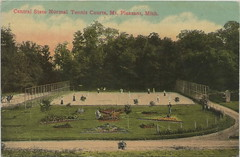 CEN Mt Pleasant MI 1913 SPORTS TENNIS RACQUET COURTS COMPETITIVE & CHAMPIONSHIP Level Sport known as REAL TENNIS CMU WHEN IT WAS THE NORMAL COLLEGE (UpNorth Memories - Donald (Don) Harrison) Tags: travel usa heritage history tourism st vintage antique michigan postcard memories restaurants hotels trailer roadside upnorth steamship cafes excursion attractions motels mackinac cottages cabins campgrounds city bridge island car upnorthmemories rppc wonders big railroad michigan memories mac state parks entertainment natural harrison roadside ferry travel don tourist mackinaw stops upnorth straits ignace