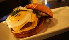 Burger at Social Costa Mesa (deeeelish) Tags: cheese burger egg cheeseburger hamburger patty