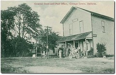 General Store and Post Office, Cottage Grove, Indiana (Hoosier Recollections) Tags: girls people woman usa signs man color men boys kids buildings advertising children women general postoffice indiana transportation porch shops storefronts businesses cottagegrove