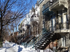 Outside staircases in the Plateau neighbourhood of  Montreal (chibeba) Tags: city houses homes winter vacation urban holiday canada architecture montral quebec outdoor plateau montreal january staircase northamerica residential staircases qc neighbourhood plateaumontroyal 2016 citybreak