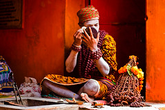 Dressing Up (shubhankrishi) Tags: makeup celebration shiva nomads ganga sadhu gettingready naga ganges nashik kumbh festivalsofindia trimbakeshwar lionskin nagababa mahakumbh