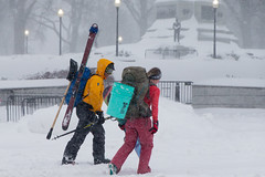 Winter Sport Seekers in DC (Steven Green Photography) Tags: travel winter snow photography washingtondc dc bucket districtofcolumbia outdoor streetlights streetphotography pennsylvaniaavenue snowboard skis skiers snowzilla stevengreen generalwilliamtecumsehshermanmonument blizzard2016 snowmageddon2016