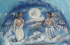 Full Moon Over Mexico Puebla Angels (Ilhuicamina) Tags: moon art mexico conejo paintings murals luna fullmoon mexican angels rabbits puebla