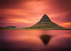 Kirkjufell on Fire (www.fourcorners.photography) Tags: europe iceland sept2015 kirkjufell grundarfjordur sunrise red peterboehringerphotography vesturland leebigstopper leendgrad06 lake reflection fourcornersphotography