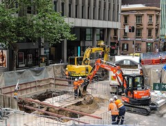 CBD & South East Light Rail - Update 3 January 2016 - Services remediation and removal Cnr George and Margaret  Streets, Sydmey (john cowper) Tags: construction sydney equipment newsouthwales activity georgestreet sydneylightrail transportfornsw cselr accionia