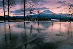 Frozen Reflections (Yuga Kurita) Tags: morning nature japan reflections landscape dawn fuji mt plateau mount fujisan shizuoka fujiyama asagiri
