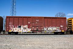 (o texano) Tags: bench graffiti texas houston trains swine draft cdc freights benching