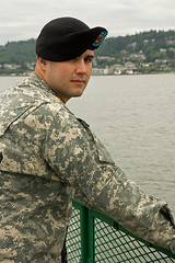 Coming Home (Portraitsteve) Tags: man water ferry soldier camo pugetsound washingtonstate beret