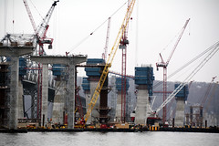 The Main Span Towers Begin To Rise On The New Tappan Zee Bridge. Crews Are Using Self-Climbing Blue Boxes Shown To Put Together The Steel Reinforced Frame And Pour Concrete Into Them, Building The Tower Section By Section - 010916 (ses7) Tags: new construction zee tappan phase bridgeny