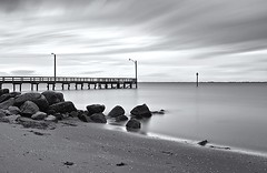 The Pier at Crescent Beach (gordeau) Tags: longexposure bw beach clouds pier rocks gordon crescentbeach ashby seleniumtoner gordeau