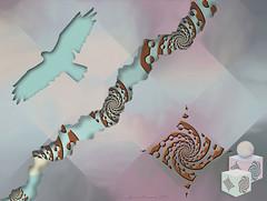 Mellow Mash-Up (KingfisherDreams) Tags: pink bird lemon aqua box mashup digitalart creative relief lilac sphere pastels fractal cubes cutouts buzzard harlequin ultrafractal corelpaintshop