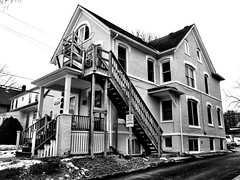 Fire Escape (Dennis Sparks) Tags: blackwhite apartments michigan annarbor fireescape studenthousing