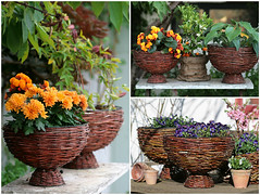Flower Baskets From Willow Branches (irecyclart) Tags: planters branches pots baskets upcycled