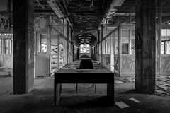 matter for the boss (Blende1.8) Tags: urban abandoned monochrome architecture table deutschland office chair fuji decay raum indoor nrw fujifilm monochrom dsseldorf tisch bro fujinon stuhl schreibtisch verlassen urbex paperfactory zerfall lostplaces papierfabrik lostplace xt1 1024mm xf1024mm