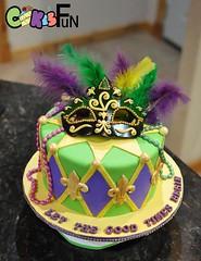 Mardi Gras Birthday Cake (bsheridan1959) Tags: cake festive colorful mask feathers birthdaycake mardigras fondant ediblemask
