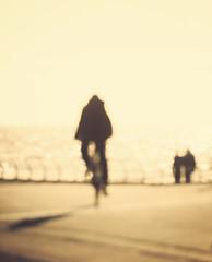 blackpool blur (matthewheptinstall) Tags: sun holiday blur coast cyclist impressionism seafront blackpool impressionist antifocus obscuered