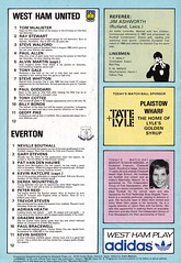 West Ham United vs Everton - 1984 - Back Cover Page (The Sky Strikers) Tags: park west hammer canon one official kodak united ham division league programme upton everton