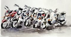 Motorbike parking (jwinstead) Tags: urban pen ink watercolor sketch