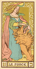 Tarot Card 11 - La Force (Strength) (ELEMENTOS DO TAROT) Tags: wild people woman history hat animals cards la force wide lion fortune card tarot historical strong cloak strength paranormal telling wirth 1926 brimmed