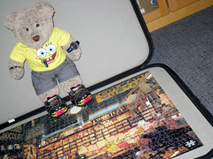 Don't blame me! (pefkosmad) Tags: jigsaw puzzle leisure hobby pastime downmemorylane houseofpuzzles shirescollection shop shopping inside interior scotland tedricstudmuffin ted toy teddy bear fluffy softie stuffed missing piece