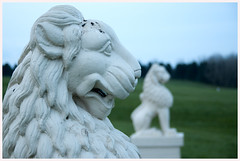 Lions Rampant (nikon_13) Tags: park sun lake green water grass pagoda peace steps lions milton keynes
