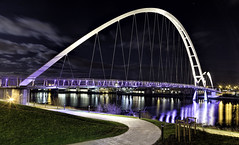 Infinity Bridge across the River Tees at Stockton-on-Tees (Durham George) Tags: moon water lines night clouds lights shot path infinity stockton leading tees