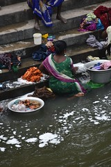 (Rick Elkins Trip Photos) Tags: woman india man river village laundry dishes bathing hindu tamilnadu ghats
