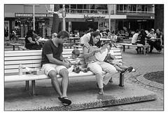 last days of summer  #750 (lynnb's snaps) Tags: 35mm apx100 agfa canonp manly bw children family film lunch parents street sydney seagull bench couples blackandwhite blackwhite bianconero noiretblanc monochrome schwarzweis biancoenero 黒と白 bianconegro analogue analog lynnburdekinphotography 50mm ©copyrightlynnburdekinallrightsreserved
