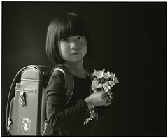 HANA (Tamakorox) Tags: family shadow portrait art love film girl japan japanese lights asia fuji kodak daughter 日本 enter tmax400 satchel b&w pleasure 光 娘 愛 影 analoguecamera 日本人 ランドセル 喜び mamiyarb67prosd 入学