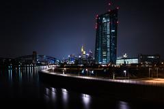ezb >> night (>>nicole>>) Tags: skyline wasser nacht frankfurt main installation architektur brücke fluss hochhaus langzeitbelichtung ezb osthafen nicolaharrison escaperoutes fluchtwege zbdesigners