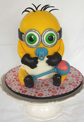 Gluten-free Minion baby shower cake (ldeandyment) Tags: baby cute cake shower rattle soother gumpaste glutenfree minion cakedecorating charactercake