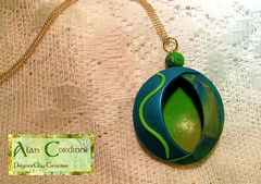 Peacock Hollow Pendant (Polymer Clay Delights) Tags: blue green gold diy necklace handmade oneofakind ooak peacock jewelry jewellery polymerclay fimo sculpey handcrafted pendant kato polyclay
