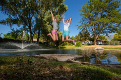 Double trouble (Flickr_Rick) Tags: woman water fountain girl outside spring jump jumping legs jumpology