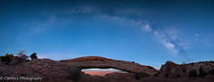 The Milky Way over Mesa Arch (OJeffrey Photography) Tags: panorama night wow utah ut nikon nightscape pano canyonlandsnationalpark moonlight nightsky bluehour d800 milkyway mesaarch jeffowens ojeffrey ojeffreyphotography