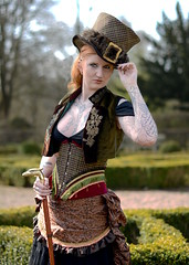 Lady Bloodcrow (Ben Gun) Tags: portrait woman hat tattoo lady female 50mm ginger nikon dof outdoor f14 hamburg hats gimp piercing redhead hut western frau edit harburg lifting steampunk weiblich rothaarig gehstock krperkunst d7100 harburgerstadtpark