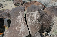 Petroglyph / Blackrock Well Site (Ron Wolf) Tags: california archaeology nationalpark nativeamerican rake salinevalley petroglyph anthropology shoshone rockart parallellines deathvalleynationalpark anthropomorph verticallines piute anthromorph numic