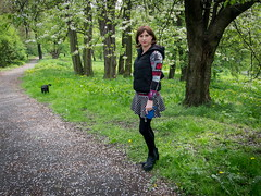 Out with my dogs (blackietv) Tags: black outside outdoor down mini skirt crossdressing tgirl transgender transvestite casual vest knitted miniskirt crossdresser
