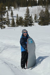 Olsen with his sled 2 (Aggiewelshes) Tags: travel winter snow april snowshoeing wyoming olsen jacksonhole grandtetonnationalpark 2016 gtnp taggartlaketrail