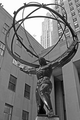2016-04-13 NYC (LMJones Photo) Tags: city nyc travel urban blackandwhite bw newyork art monochrome statue architecture spring globe body rockefellercenter tourist april atlas myth 30rock canont3i 0272b 20160413nyc 2016firstvisit